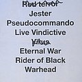 Shrapnel setlist sheet Other Collectable