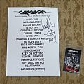 CARCASS / Signed set list & backstage pass for Japan tour 2008 Other Collectable