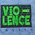VIO-LENCE custom green embroidered patch