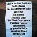Desaster setlist Other Collectable