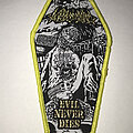 Toxic Holocaust - Patch - Toxic Holocaust Evil Never Dies coffin patch yellow border