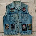 vintage battle jacket with a lot of rare patches and one back patch
