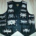 Black shining leather battle vest
