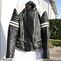 Real 80s Vintage EREL Black White Leather Jacket S