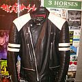 Real 80s black and white biker Leather Jacket