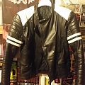 Real 80s Vintage Black White Leather Jacket S
