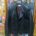 Real 80s 70s Black Leather Jacket Wolf S/M 46
