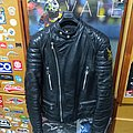 Real 80s 70s Black patina Leather Jacket Moto Cuir S 44