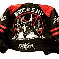 Handpainted male leather jacket - Bathory  and a few logos - made by Oldschool Crew