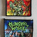 Small handpainted patches  Sodom, Municipal Waste made by Oldschool Crew