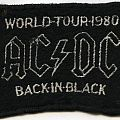 AC/DC - Patch - AC/DC Back in Black World Tour 1980 embroidered