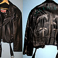 Queensryche - Battle Jacket - Queensryche - Empire - airbrushed logo on black leather jacket - custom made