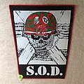 S.O.D. - Speak English Or Die - Red Border - Vintage Backpatch