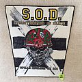 S.O.D. - Speak English Or Die - White Background - Black Border Version - Vintage Backpatch