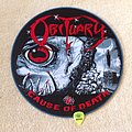 Obituary - Cause Of Death - Circle Woven Backpatch - Blue Border