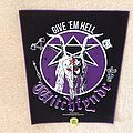 Witchfynde - Give 'Em Hell - Purple Border - 2019 Witchfynde Burning Leather - Backpatch
