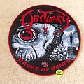 Obituary - Cause Of Death - Circle Woven Backpatch - Red Border