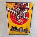 Judas Priest - Screaming For Vengeance - Gold Glitter Logo - Blue Border - Vintage Backpatch