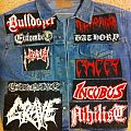 D.I.Y. patches (Grave, Carnage, Bathory yellow goat, etc)