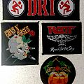 D.R.I. strip patch, Guns N Roses - Appetite for Destruction (Skull) patch, Ratt - Reach for the Sky patch, Helloween patch