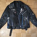 Black Leather Jacket with Metal Pins, Buttons & Iron Maiden Patch