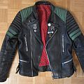 Original Moto Cuir Leather Jacket with Metal Pins and Buttons