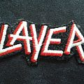 Slayer embroidered text logo patch.