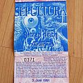 Sepultura - Arise Tour 1992 - Ticket Other Collectable