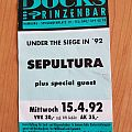 Sepultura - Under Siege Tour 1992 - Ticket Other Collectable