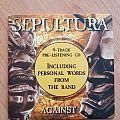 Sepultura - Against - Promo - CD (1998) Tape / Vinyl / CD / Recording etc