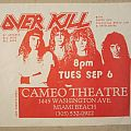 Overkill - Gig flyer 1988 Other Collectable