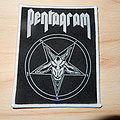 Pentagram - Relentless woven patch (white border)