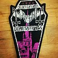 Mayhem Pink coffin Patch woven