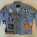 Filthy denim jacket with custom backpatch