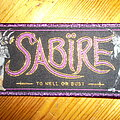 "Sabïre - ""To Hell Or Bust"" Patch Purple Glitter Border"