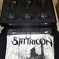 "Satyricon wine glasses in box and Satyricon shirt ""Troll"" print."