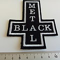 Black metal shaped patch woven var322