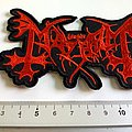 Mayhem shaped red big patch m237  new 8 x 12 cm