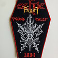 Celtic Frost big  morbid tales coffin patch c192 red border  15.5 x 10 cm