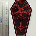 Baphomet coffin patch b288 red embroidered   9 x 16 cm