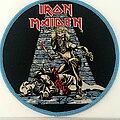 Iron Maiden - Patch - iron maiden   round Sanctuary  patch  123  blue border 10.5 cm