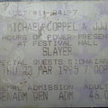 Slayer - Other Collectable - Slayer - concert ticket 1995