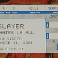 "Slayer ""God Hates Us All"" promo ticket 9/11 Other Collectable"