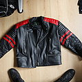 Leather jacket old school red stripe style