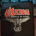 """Official Vintage Saxon """"Wheels Of Steel"""" Patch (black-bordered version)"""
