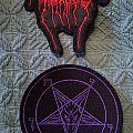 Darkthrone red logo patch & purple pentagram patch