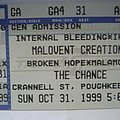 Malevolent Creation ticket stub