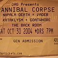 Cannibal Corpse - Other Collectable - Cannibal Corpse tik stub