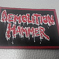 Demolition Hammer - RED/WHITE LOGO ( RED  BORDER ) woven patch Brand New
