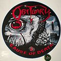 "Obituary ""Cause of Death"" Backpatch woven blue border"